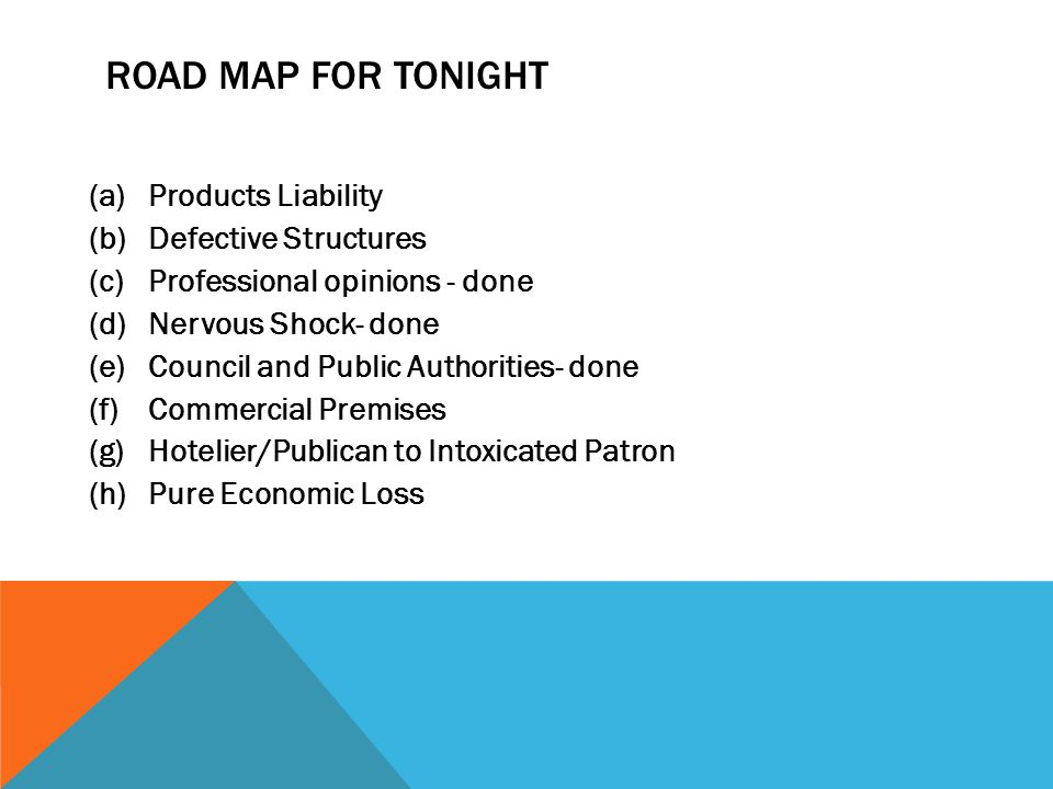 ROAD MAP FOR TONIGHT (a)Products Liability (b)Defective Structures (c)Professional opinions - done (d)Nervous Shock- done (e)Council and Public Author