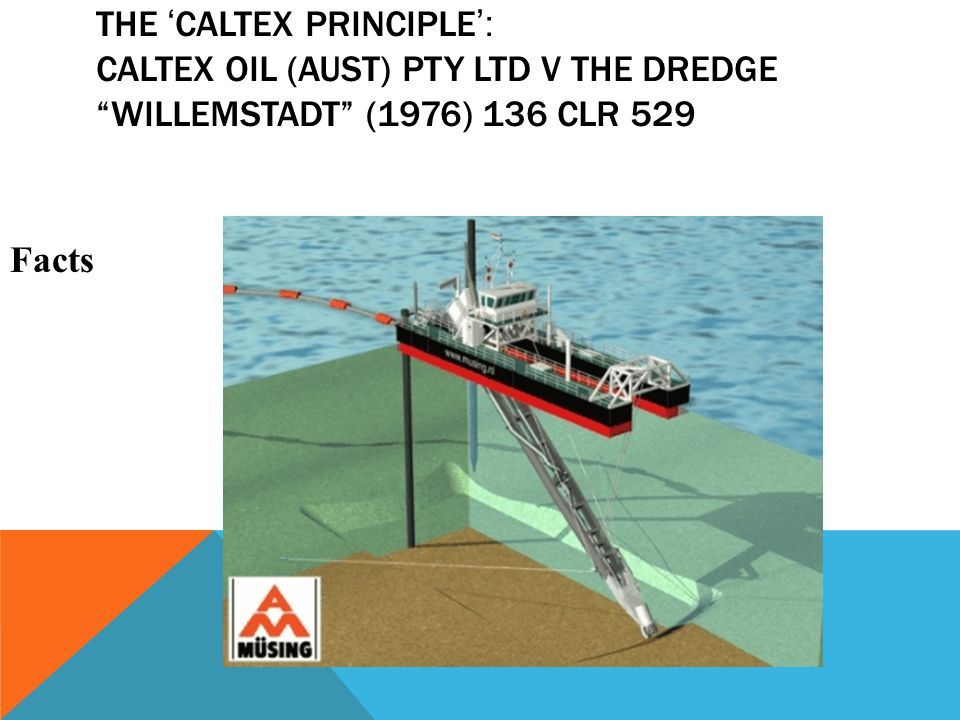 "THE ' CALTEX PRINCIPLE ': CALTEX OIL (AUST) PTY LTD V THE DREDGE ""WILLEMSTADT"" (1976) 136 CLR 529 Facts"