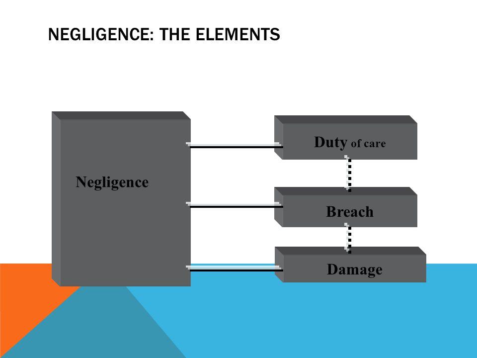 NEGLIGENCE: THE ELEMENTS Duty of care Breach Damage Negligence