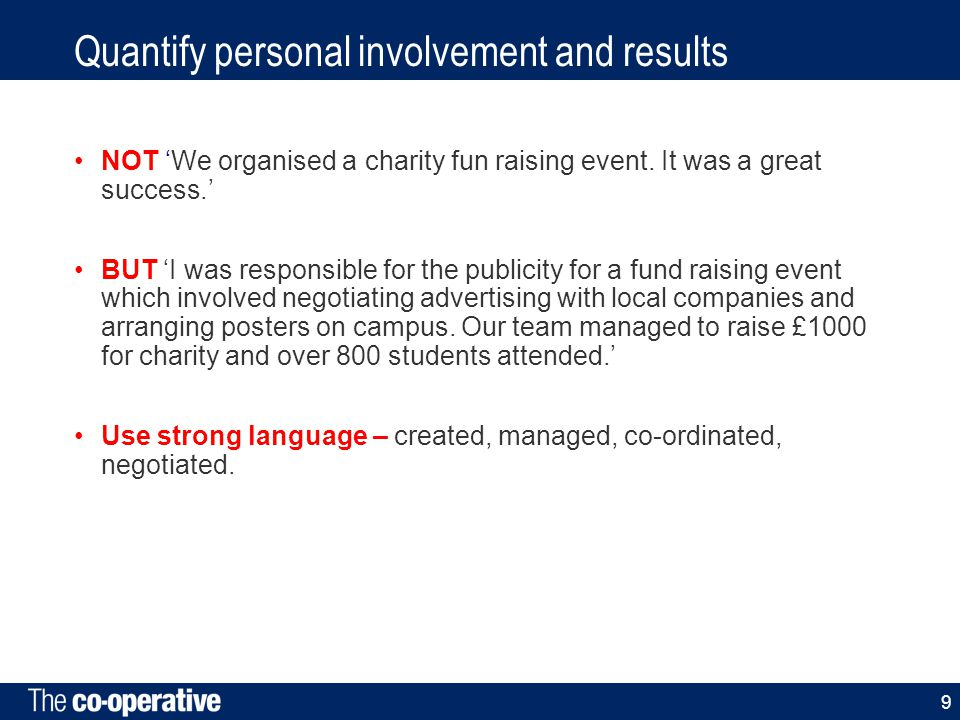 Quantify personal involvement and results NOT 'We organised a charity fun raising event.