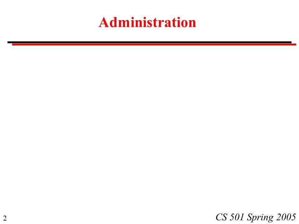 2 CS 501 Spring 2005 Administration
