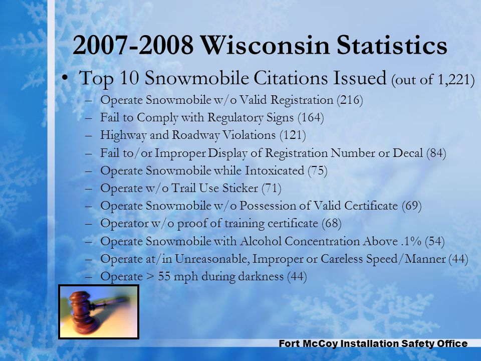 Fort McCoy Installation Safety Office 2007-2008 Wisconsin Statistics Top 10 Snowmobile Citations Issued (out of 1,221) –Operate Snowmobile w/o Valid Registration (216) –Fail to Comply with Regulatory Signs (164) –Highway and Roadway Violations (121) –Fail to/or Improper Display of Registration Number or Decal (84) –Operate Snowmobile while Intoxicated (75) –Operate w/o Trail Use Sticker (71) –Operate Snowmobile w/o Possession of Valid Certificate (69) –Operator w/o proof of training certificate (68) –Operate Snowmobile with Alcohol Concentration Above.1% (54) –Operate at/in Unreasonable, Improper or Careless Speed/Manner (44) –Operate > 55 mph during darkness (44)
