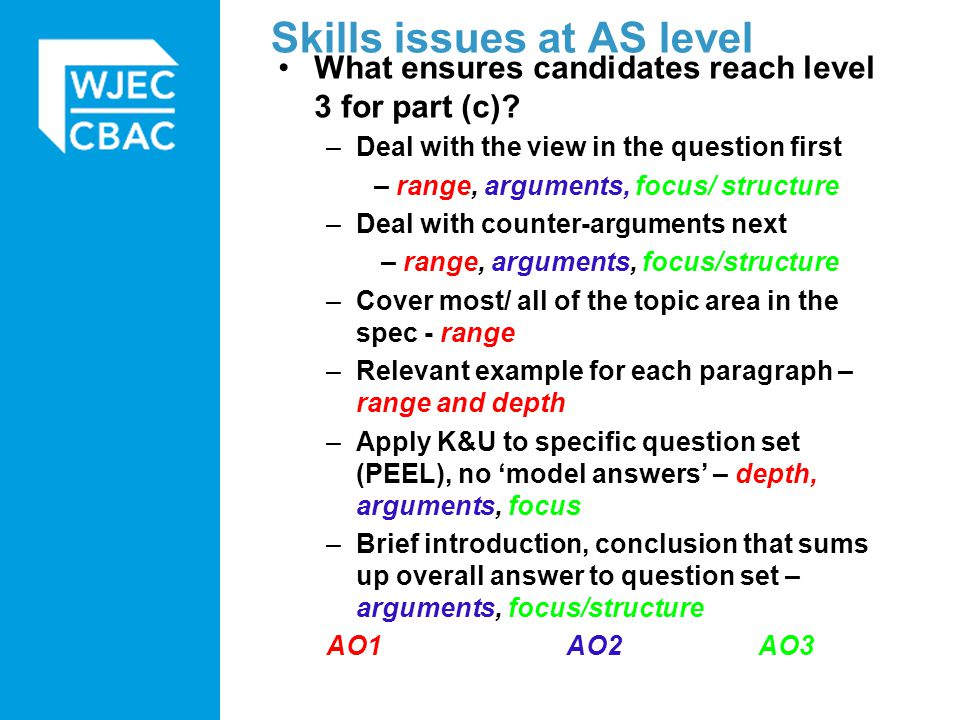 Implications for teaching: –Balance of content teaching to skills teaching –Progressive development of skills –Skills practice/ use of scripts –Clarity about what is examined in each topic area (Teacher Guide) –Need to build in identification of examples –Balance of range to depth: candidates need to be able to adapt and use the range of knowledge they have, and develop it Skills issues at AS level
