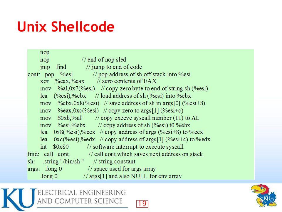 19 Unix Shellcode
