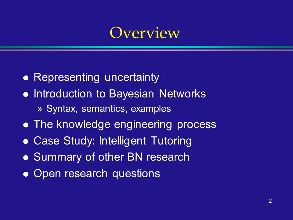 2 Overview l Representing uncertainty l Introduction to Bayesian Networks »Syntax, semantics, examples l The knowledge engineering process l Case Study: Intelligent Tutoring l Summary of other BN research l Open research questions