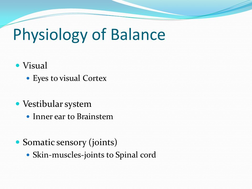 Physiology of Balance Visual Eyes to visual Cortex Vestibular system Inner ear to Brainstem Somatic sensory (joints) Skin-muscles-joints to Spinal cor