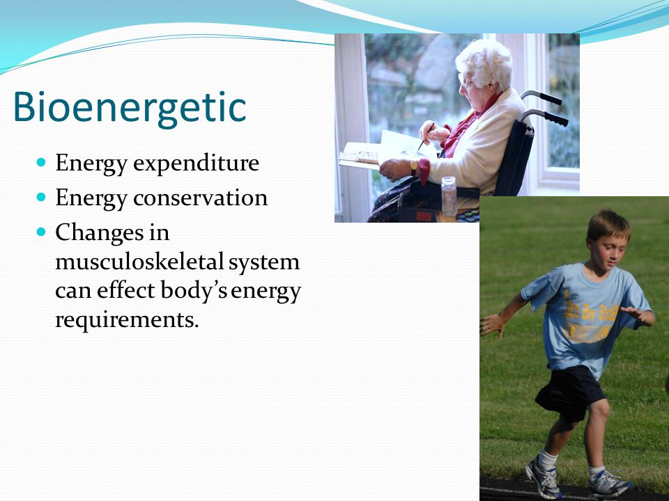 Bioenergetic Energy expenditure Energy conservation Changes in musculoskeletal system can effect body's energy requirements.
