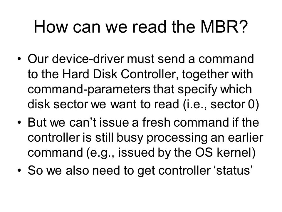 How can we read the MBR.
