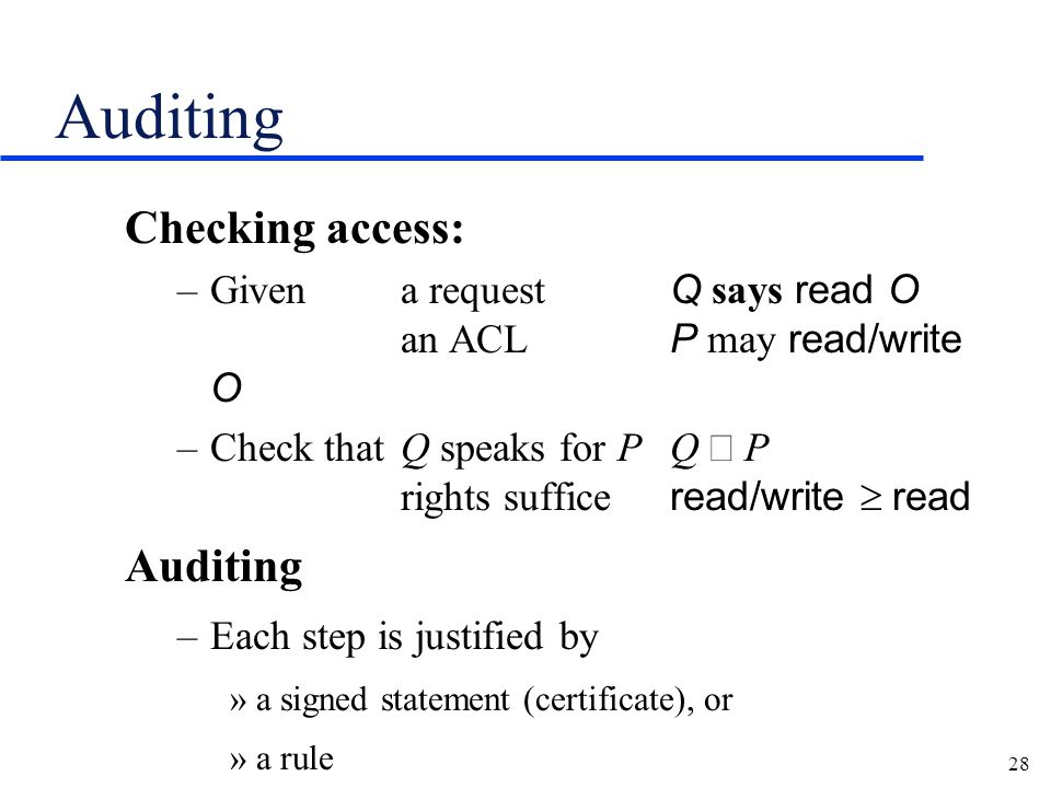 28 Auditing Checking access: –Givena request Q says read O an ACL P may read/write O –Check thatQ speaks for PQ  P rights suffice read/write  read Auditing –Each step is justified by »a signed statement (certificate), or »a rule
