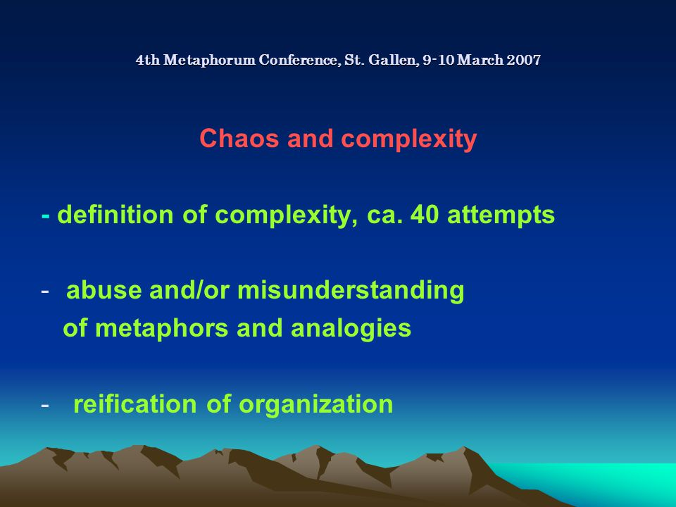 4th Metaphorum Conference, St.