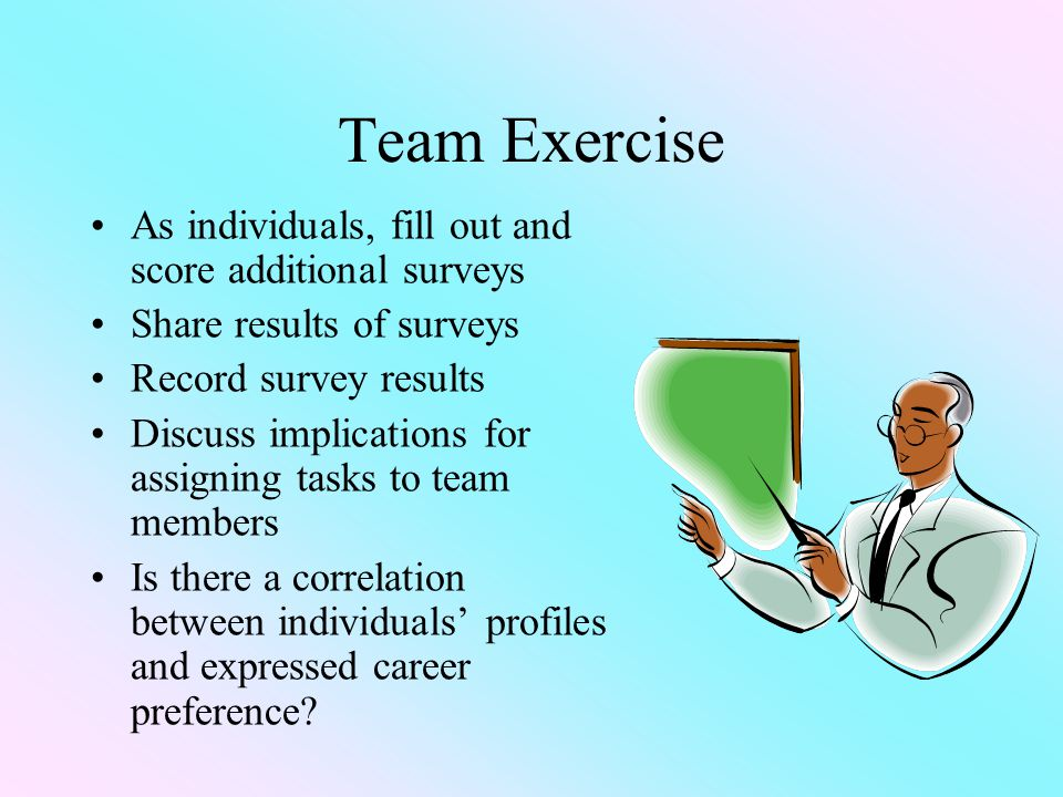 Team Exercise As individuals, fill out and score additional surveys Share results of surveys Record survey results Discuss implications for assigning tasks to team members Is there a correlation between individuals' profiles and expressed career preference