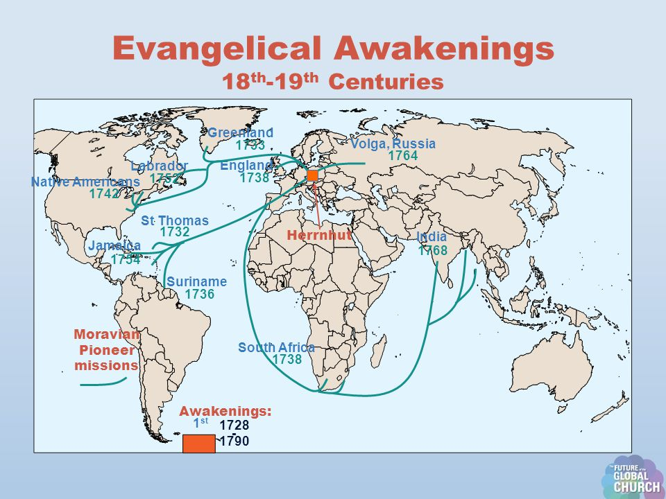 Evangelical Awakenings 18 th -19 th Centuries Herrnhut Greenland Moravian Pioneer missions England Volga, Russia India South Africa Native Americans Jamaica St Thomas Suriname Labrador 1732 1742 1733 1752 1738 1736 1754 1738 1764 1768 1 st 1728 - 1790 Awakenings: