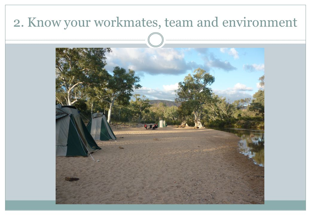 2. Know your workmates, team and environment