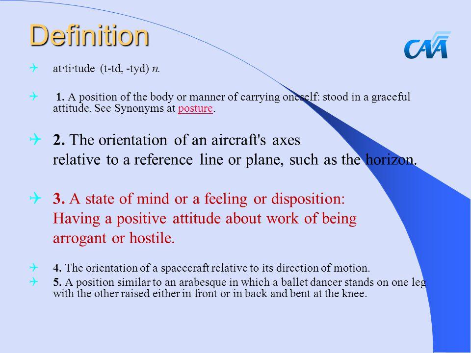 Definition  at·ti·tude (t-td, -tyd) n.  1.