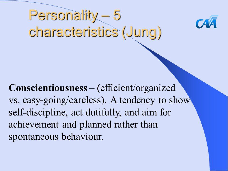 Conscientiousness – (efficient/organized vs. easy-going/careless).