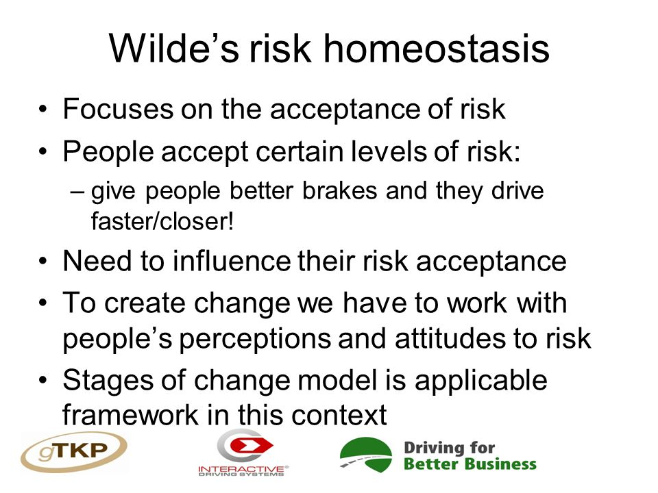 Wilde's risk homeostasis Focuses on the acceptance of risk People accept certain levels of risk: –give people better brakes and they drive faster/closer.