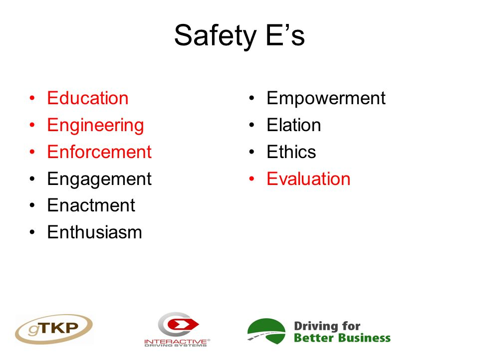 Safety E's Education Engineering Enforcement Engagement Enactment Enthusiasm Empowerment Elation Ethics Evaluation