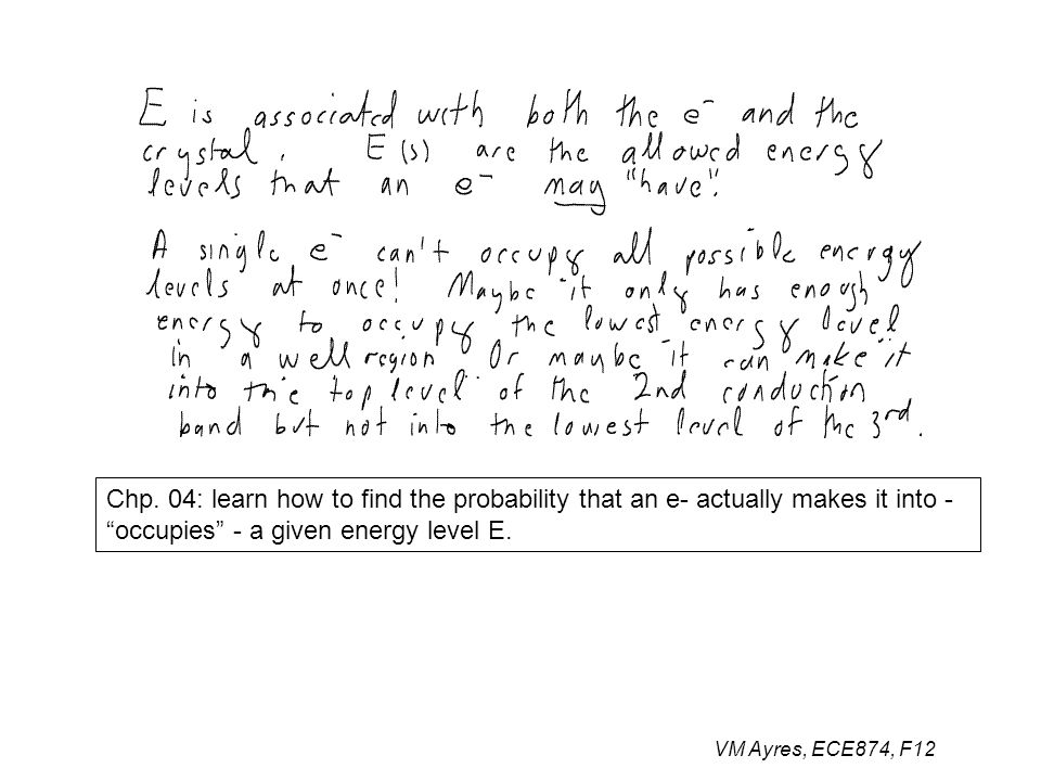 """Chp. 04: learn how to find the probability that an e- actually makes it into - """"occupies"""" - a given energy level E."""