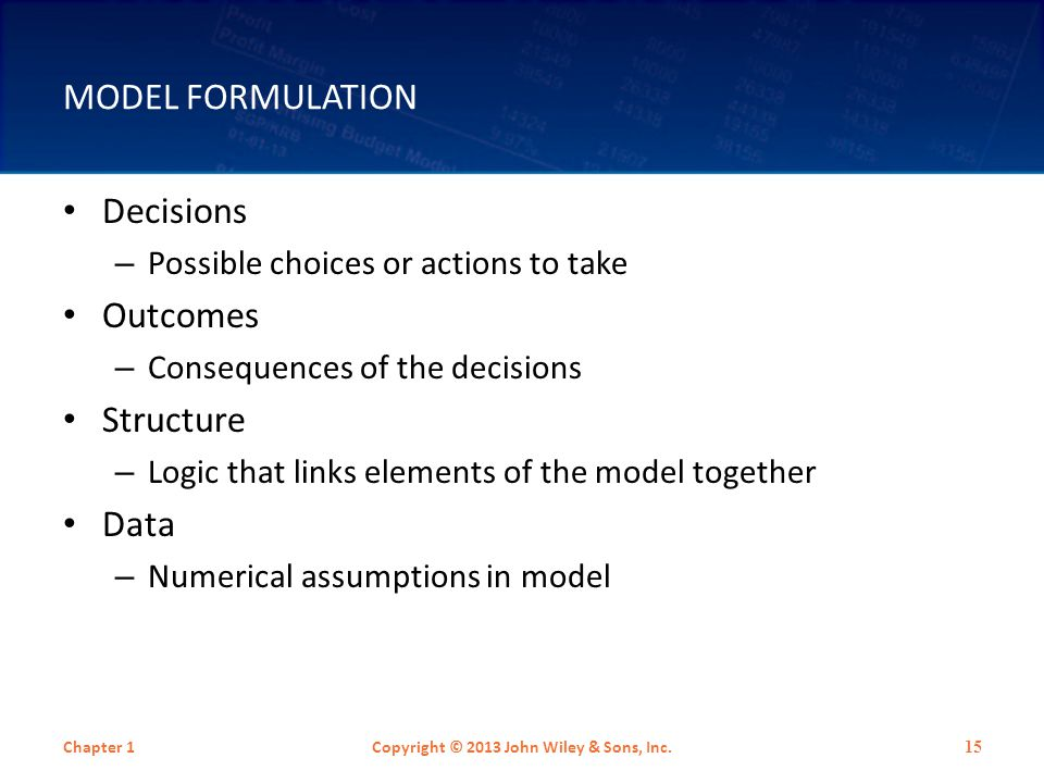 MODEL FORMULATION Decisions – Possible choices or actions to take Outcomes – Consequences of the decisions Structure – Logic that links elements of th