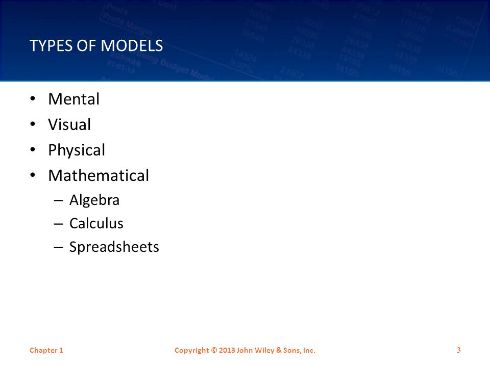 TYPES OF MODELS Mental Visual Physical Mathematical – Algebra – Calculus – Spreadsheets Chapter 1Copyright © 2013 John Wiley & Sons, Inc. 3