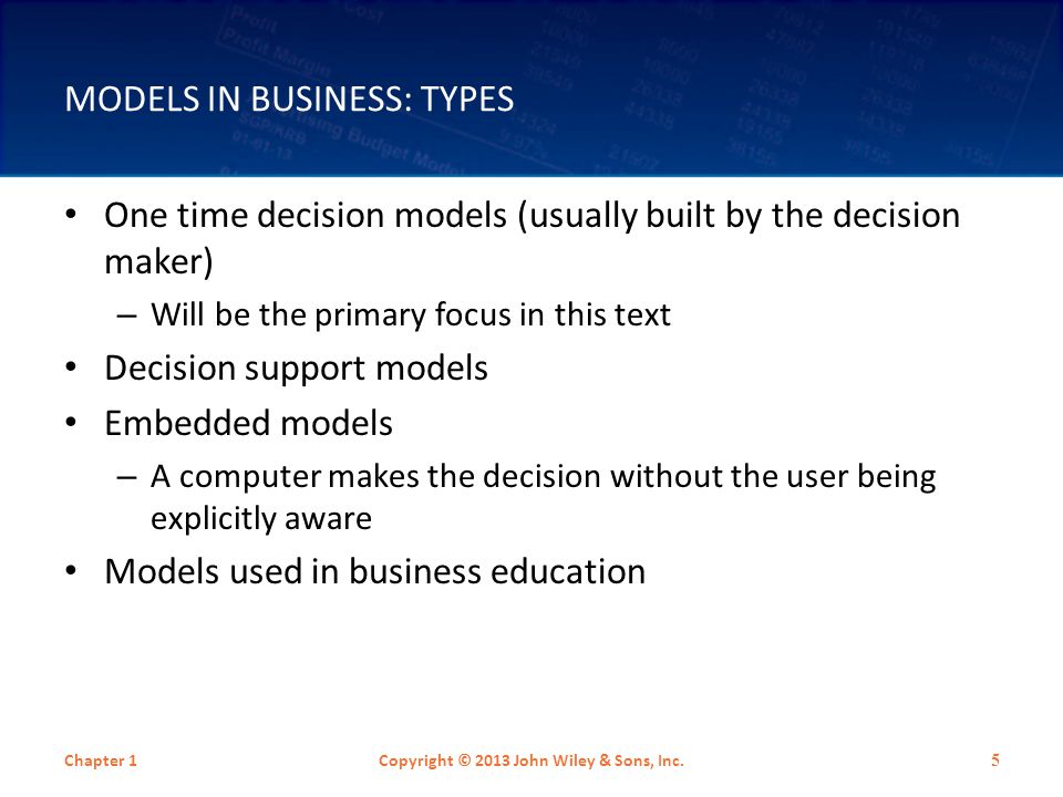 MODELS IN BUSINESS: TYPES One time decision models (usually built by the decision maker) – Will be the primary focus in this text Decision support mod