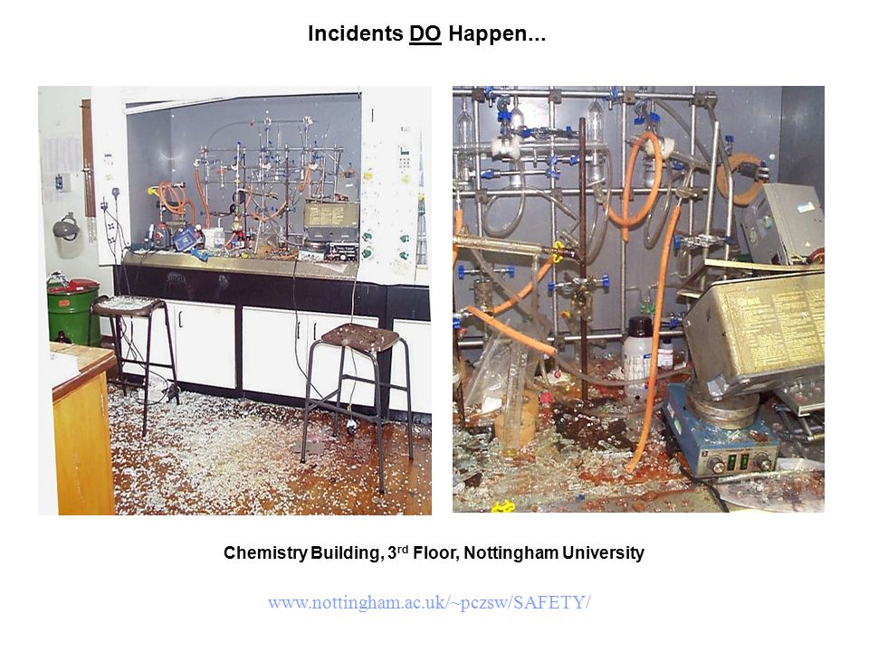 Incidents DO Happen... Chemistry Building, 3 rd Floor, Nottingham University www.nottingham.ac.uk/~pczsw/SAFETY/
