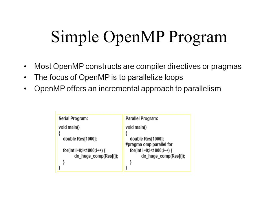 OpenMP runtime library Query functions Runtime functions – Run mode – Nested parallelism Lock functions C/C++: add #include