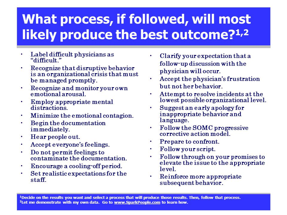 What process, if followed, will most likely produce the best outcome.