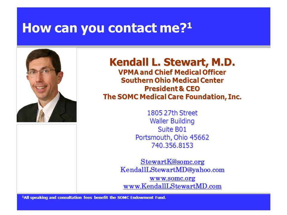 How can you contact me.1 Kendall L. Stewart, M.D.