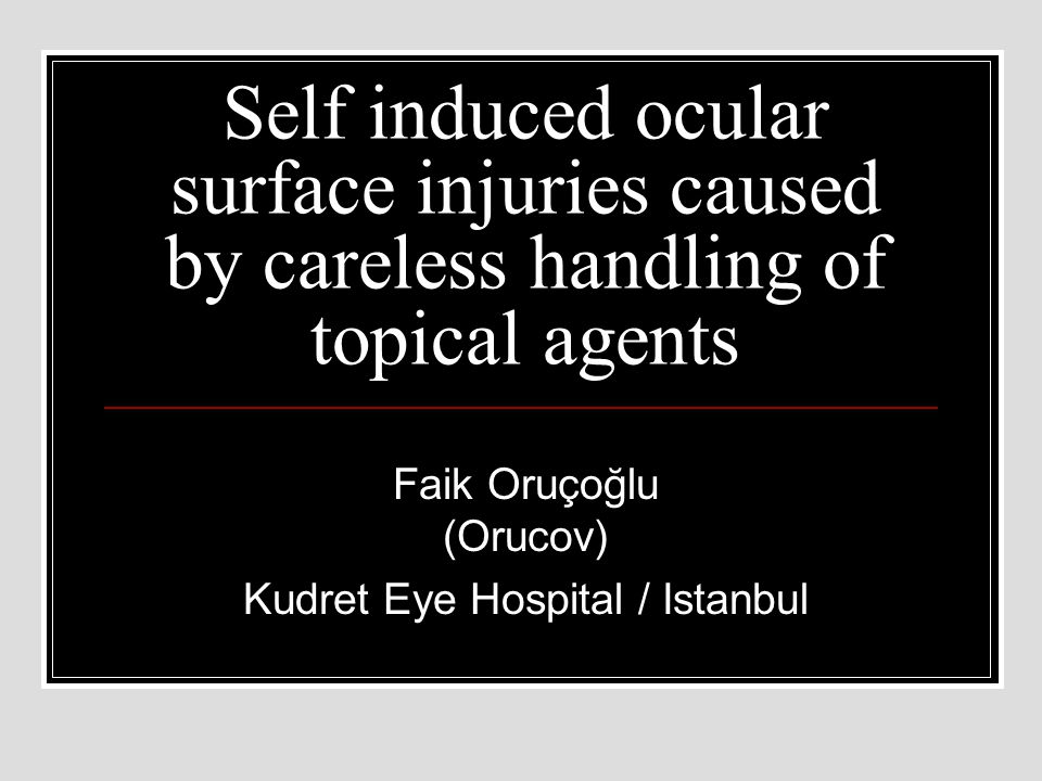 PURPOSE To report the clinical features and diagnosis of red and painful eyes caused by the contact of the eye drop or ointment bottle tips to the conjunctiva and cornea The medical records of patients who presented with a sudden painful and red eye while using eye drops or ointments were reviewed.