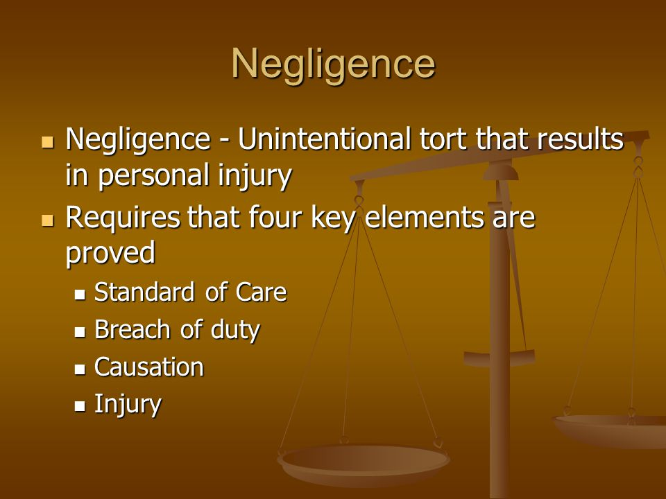 Intentional Torts Harm to persons (cont'd.) Harm to persons (cont'd.) Defamation Defamation Must be: Must be: Untrue/False Untrue/False Harmful Harmful Made to a third party Made to a third party Includes: Includes: Slander – Verbal defamation Slander – Verbal defamation Libel – Written defamation Libel – Written defamation Public figures have less protection against defamation Public figures have less protection against defamation Requires showing of actual malice or reckless disregard for truth Requires showing of actual malice or reckless disregard for truth