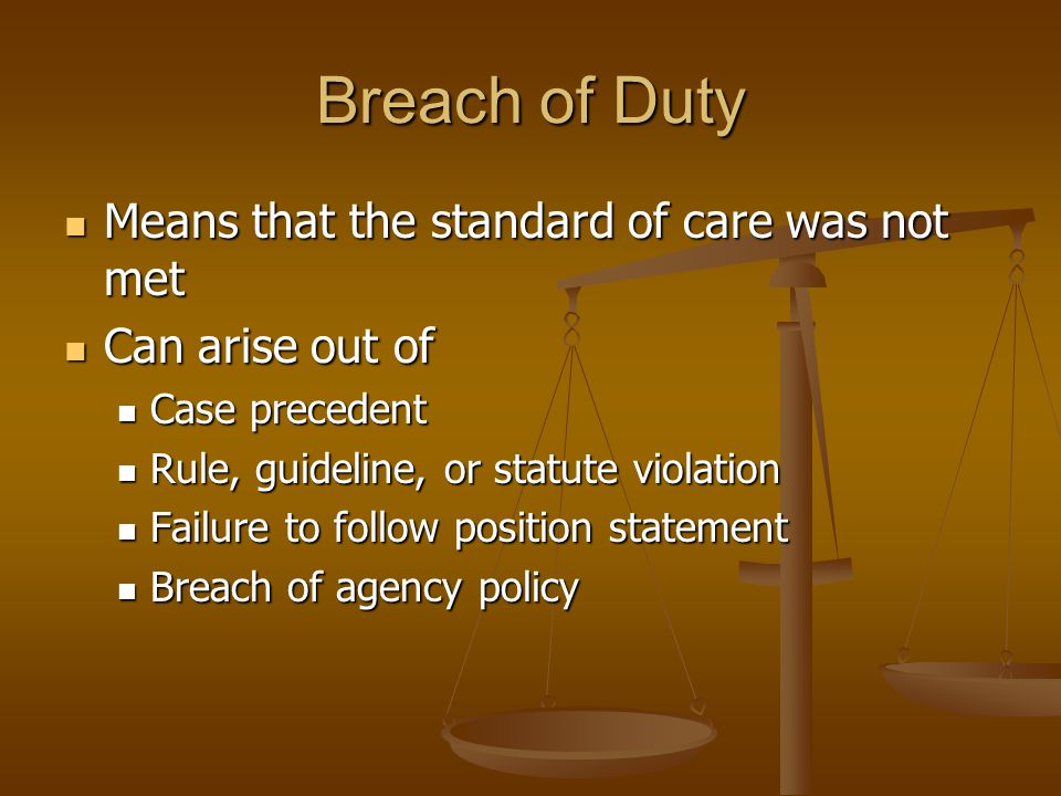 Breach of Duty Means that the standard of care was not met Means that the standard of care was not met Can arise out of Can arise out of Case precedent Case precedent Rule, guideline, or statute violation Rule, guideline, or statute violation Failure to follow position statement Failure to follow position statement Breach of agency policy Breach of agency policy