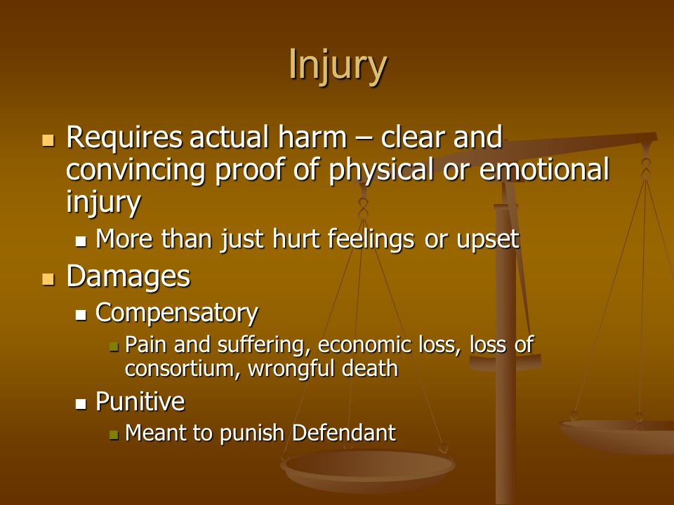Injury Requires actual harm – clear and convincing proof of physical or emotional injury Requires actual harm – clear and convincing proof of physical or emotional injury More than just hurt feelings or upset More than just hurt feelings or upset Damages Damages Compensatory Compensatory Pain and suffering, economic loss, loss of consortium, wrongful death Pain and suffering, economic loss, loss of consortium, wrongful death Punitive Punitive Meant to punish Defendant Meant to punish Defendant