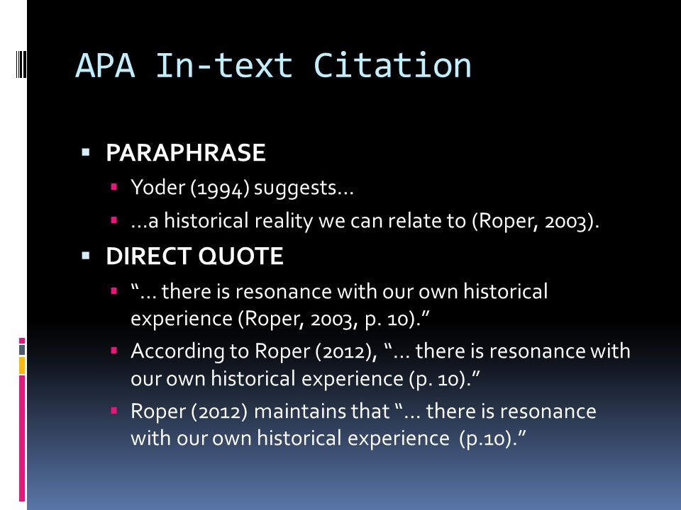 APA In-text Citation  PARAPHRASE  Yoder (1994) suggests…  …a historical reality we can relate to (Roper, 2003).