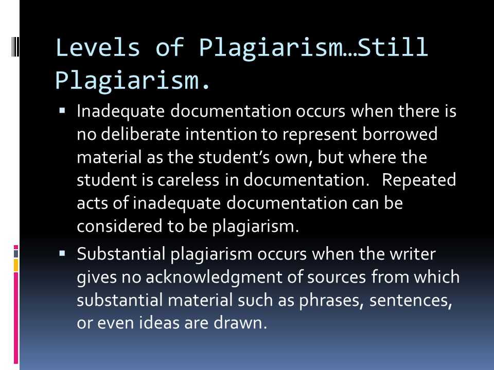 Levels of Plagiarism…Still Plagiarism.
