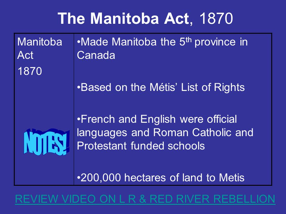 The Manitoba Act, 1870 Manitoba Act 1870 Made Manitoba the 5 th province in Canada Based on the Métis' List of Rights French and English were official