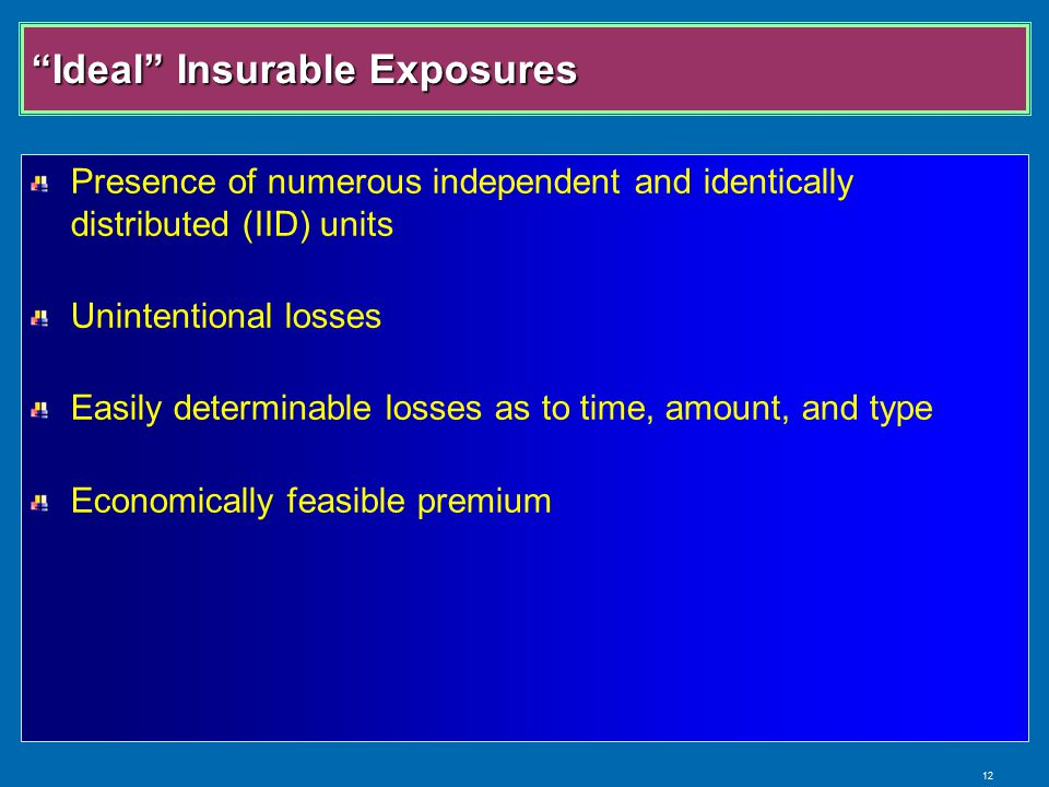 12 Ideal Insurable Exposures Presence of numerous independent and identically distributed (IID) units Unintentional losses Easily determinable losses as to time, amount, and type Economically feasible premium