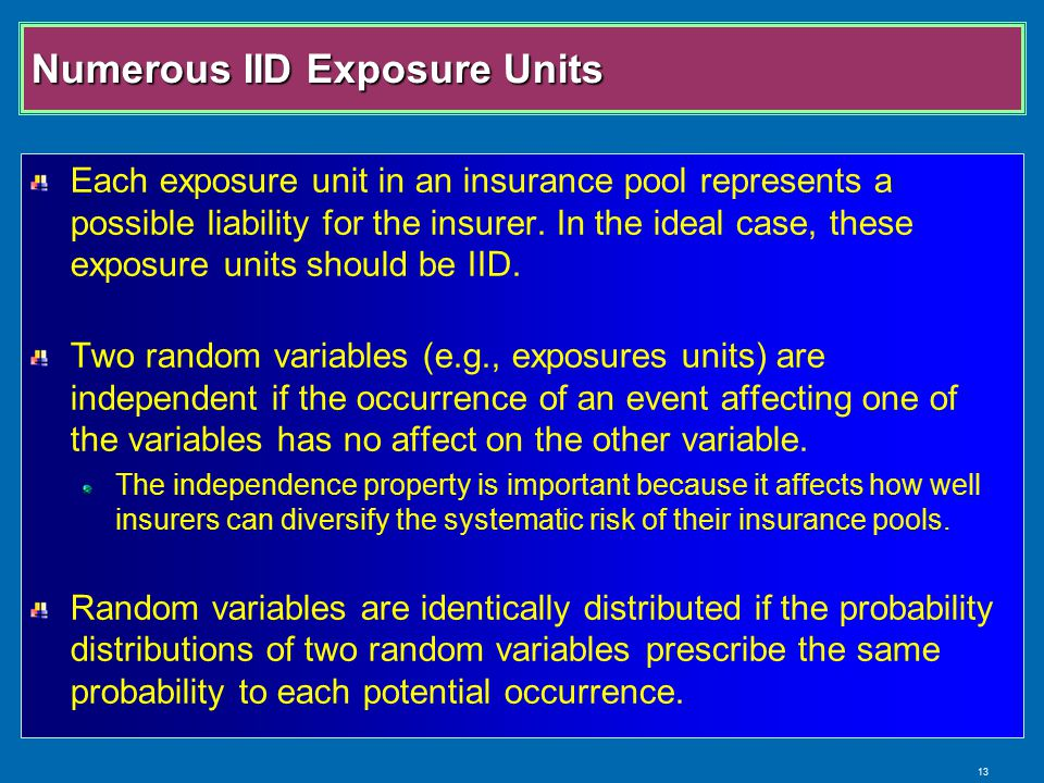 13 Numerous IID Exposure Units Each exposure unit in an insurance pool represents a possible liability for the insurer.