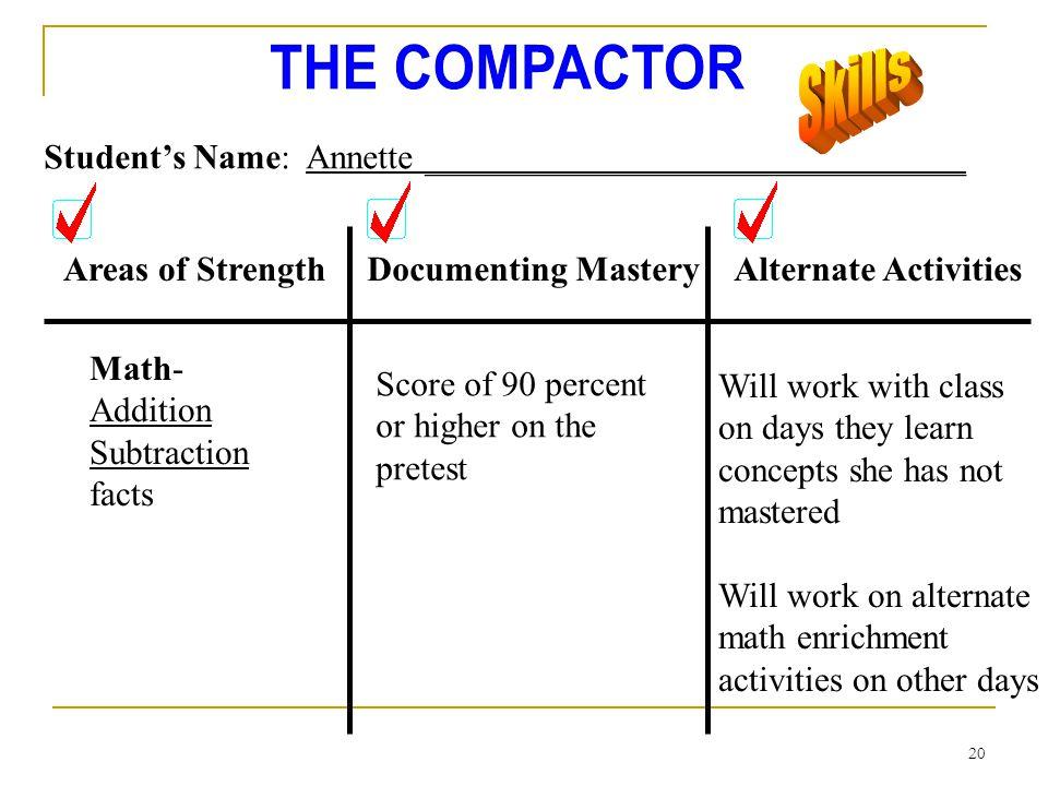 19 Areas of StrengthDocumenting MasteryAlternate Activities Student's Name: ________________________________
