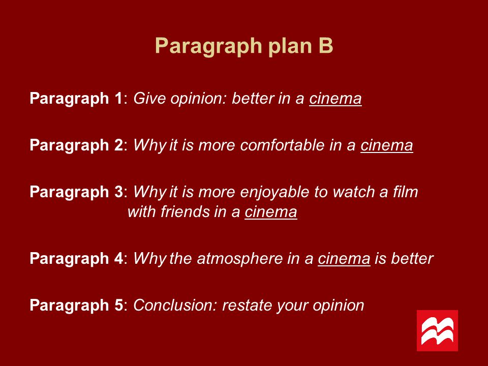 Paragraph plan B Paragraph 1: Give opinion: better in a cinema Paragraph 2: Why it is more comfortable in a cinema Paragraph 3: Why it is more enjoyab