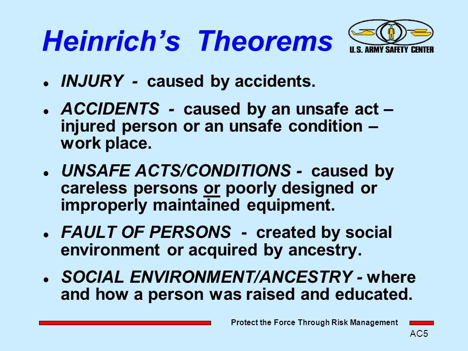 "Protect the Force Through Risk Management AC4 ""Industrial Accident Prevention"" 1932 First Scientific Approach to Accident/Prevention - H.W. Heinrich."