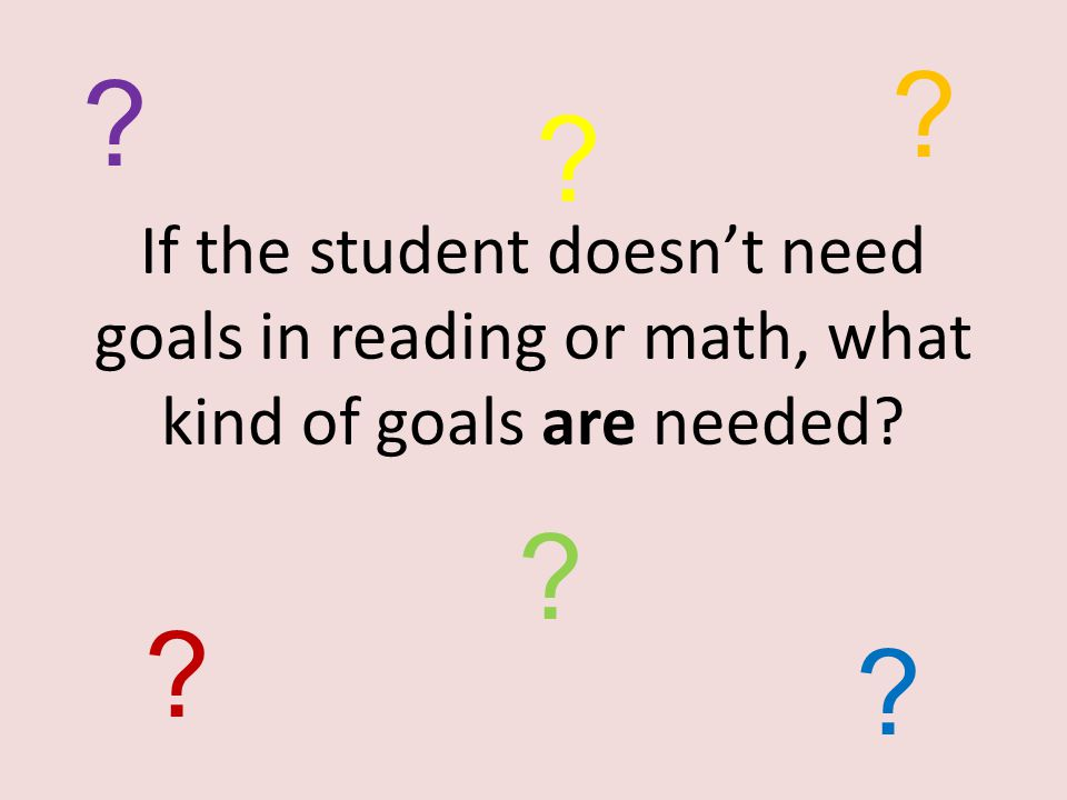What are NOT areas of need for this student. This student's needs are NOT in reading and math.
