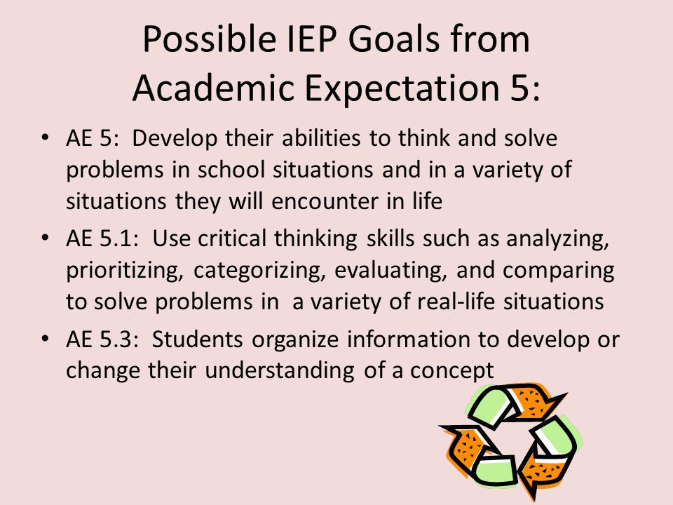 Possible IEP Goals from Academic Expectation 3: AE 3: Develop their abilities to become self- sufficient individuals AE 3.5: Demonstrate self-control and self- discipline AE.