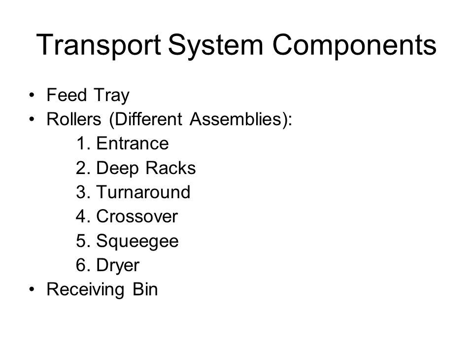 Transport System Components Feed Tray Rollers (Different Assemblies): 1.