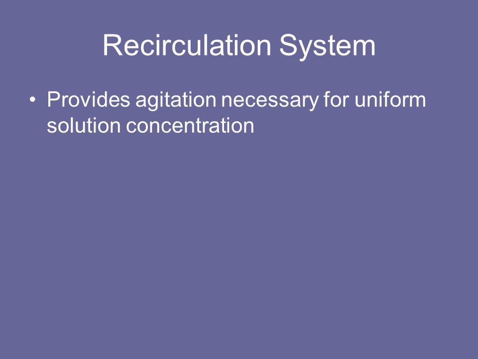 Recirculation System Provides agitation necessary for uniform solution concentration