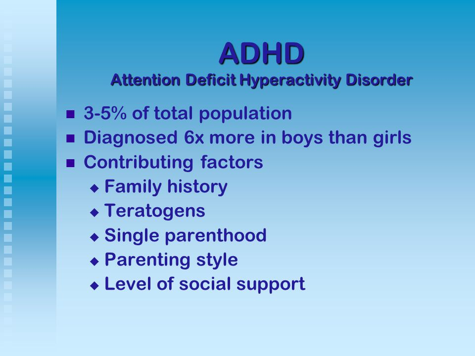 Diagnosing ADHD Children under 7 years old have these observable behaviors in several settings, for longer than 6 months:   Inattention: easily distracted, makes careless mistakes, forgetful   Hyperactivity: fidgety, talks excessively, difficulty sitting still   Impulsivity: difficulty awaiting turn, interrupts, doesn't consider consequences of actions