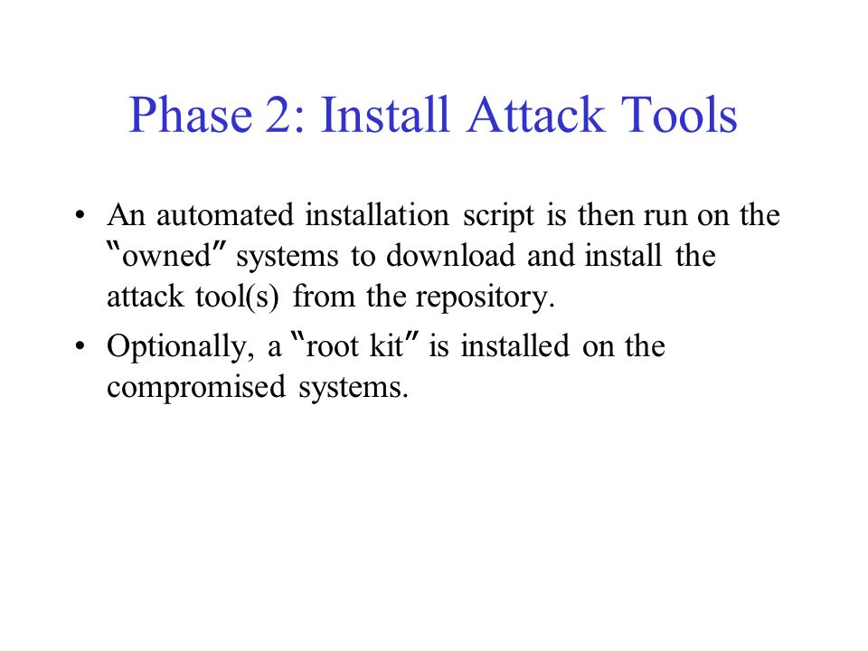 Phase 1: Compromise A (stolen) account is used as repository for attack tools. A scan is performed to identify potential victims. A script is used to