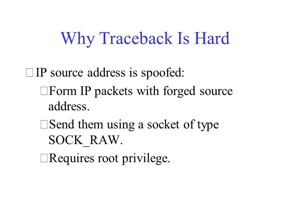 Traceback Techniques •Logging •Link testing •Node append •Node sampling •Overlays •Edge sampling •Trace messages