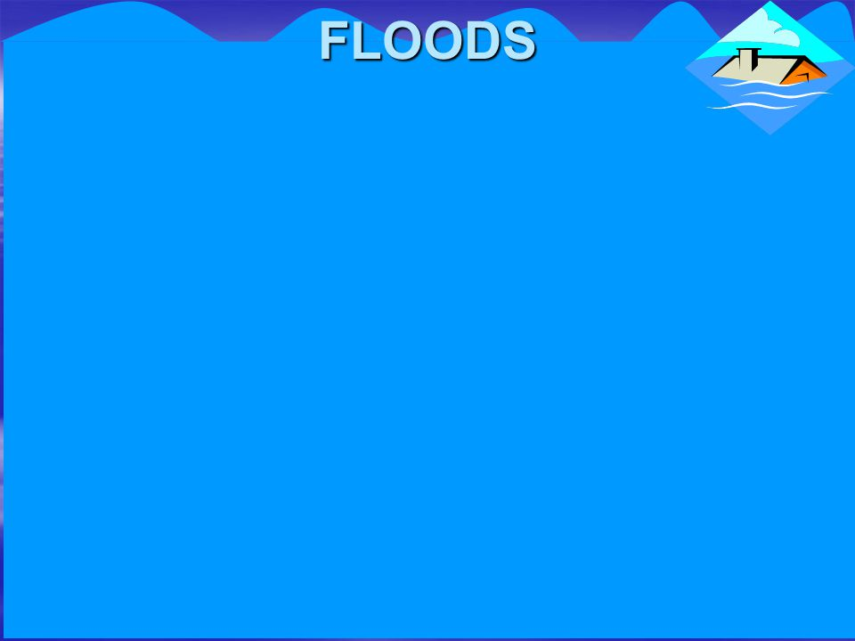A flood is caused by an overflow of water which covers land that is usually either too dry and rainwater cannot penetrate the ground because it is too