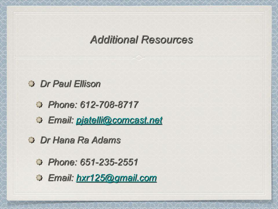 Dr Paul Ellison Phone: 612-708-8717 Email: pjatelli@comcast.net pjatelli@comcast.net Dr Hana Ra Adams Phone: 651-235-2551 Email: hxr125@gmail.com hxr125@gmail.com Additional Resources